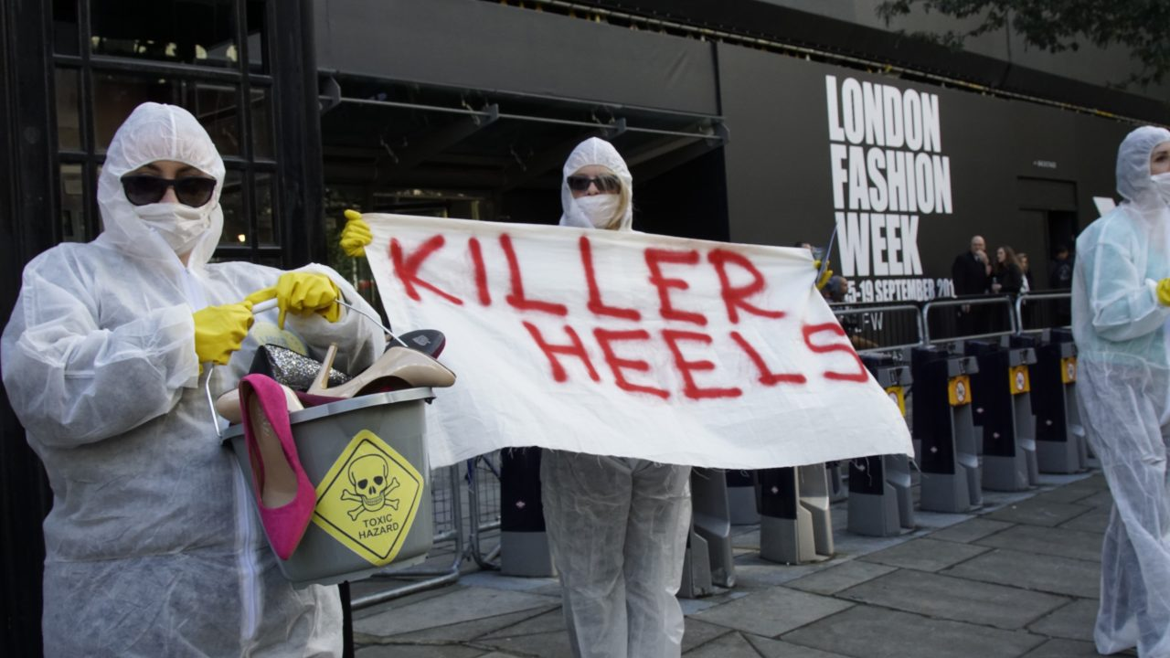Activists demand an end to Killer Heels at London Fashion Week